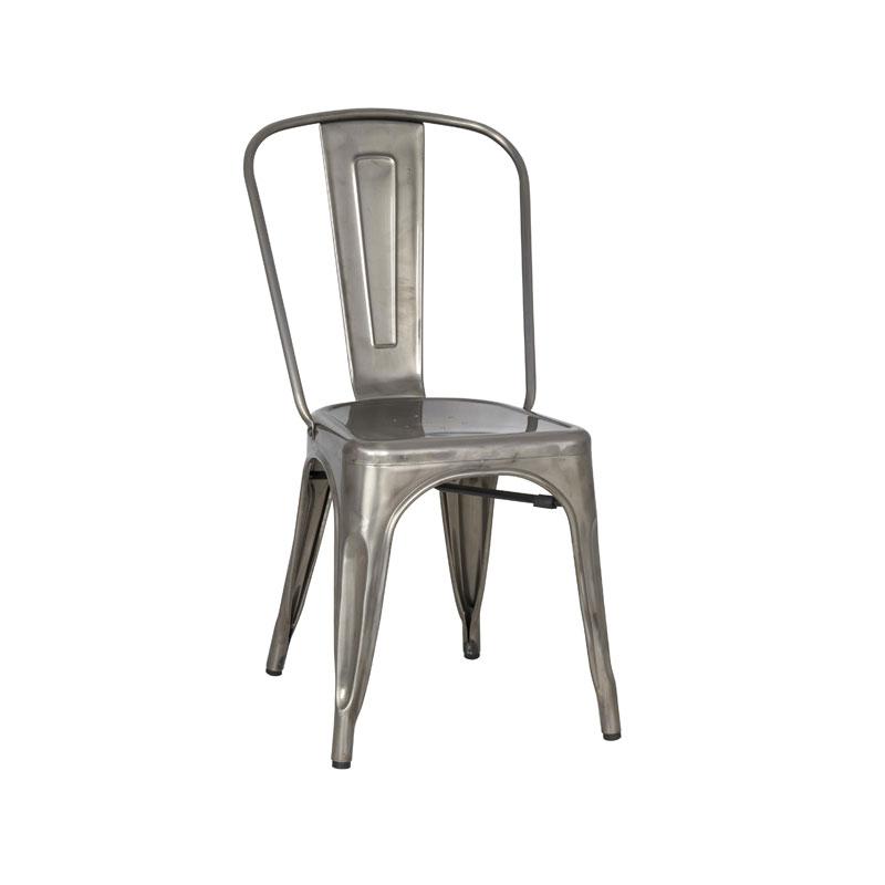 Galvanized Vintage Metal Dining Chair
