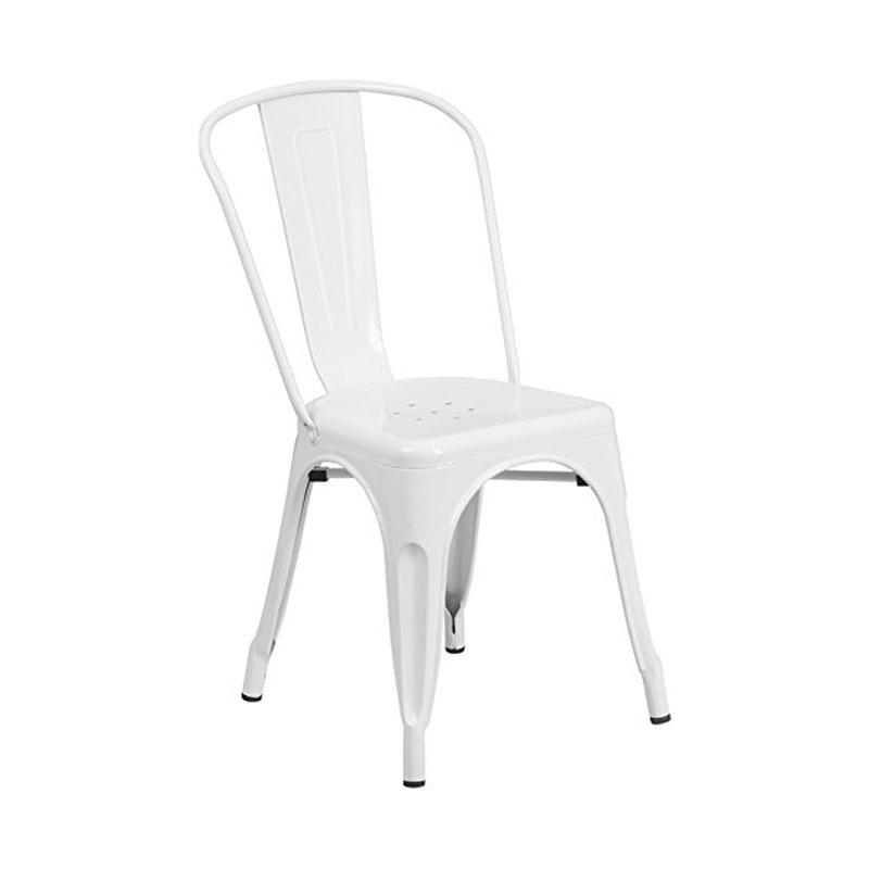 White Vintage Metal Dining Chair